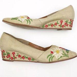 Vintage Floral Wedges Size 7 Linen Summer Shoes